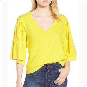 {J. CREW} Yellow Pin Tuck Bell Sleeve Blouse